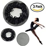 3 Pack : New8Beauty Hair Nets Black - Hair Accessories for Ballet Bun Cover Dance Skating Gymnastics Wedding Performance (3 Pack)