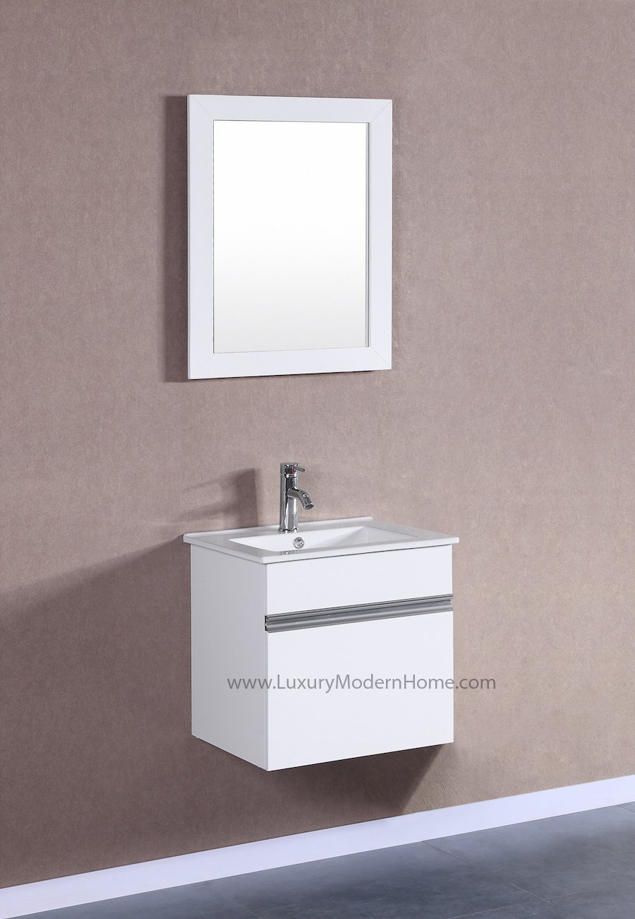 PETRONIUS - 20'' Small WHITE Modular Wall Mount Hung Floating Modern Bathroom Vanity Sink by www.LuxuryModernHome.com