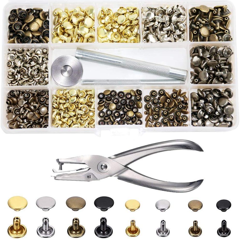 SUNTATOP 280 Set Remaches 4 Colores 2 Tamaños Perno de Metal Tubular de Doble Tapa con Herramientas de Perforación para Decoración y Reparaciones Artesanales de Cuero