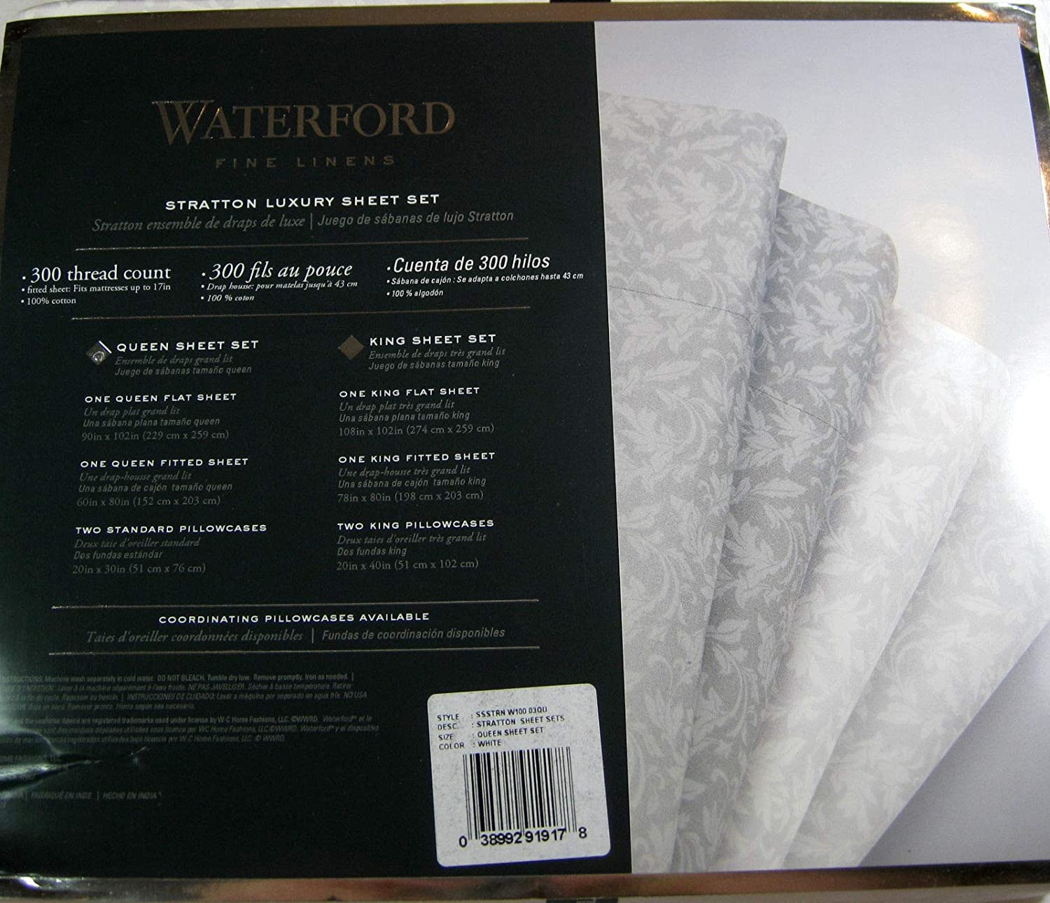 Amazon.com: Stratton Waterford 300 Thread Count Cotton Sheet Set - Silver - Queen Size: Home & Kitchen