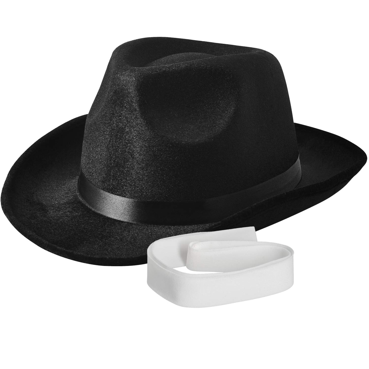 NJ Novelty - Fedora Gangster Hat, Black Pinched Hat Costume Accessory + White Band 01381