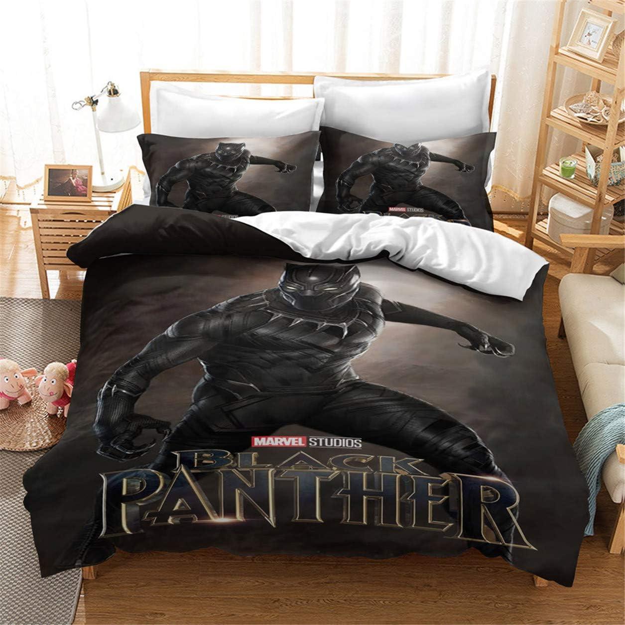 HMT NF 3D Black Panther Bedding Set Marvel Series of Superhero Duvet Cover Set for Kids Science Fiction Action Movie 3Piece 1Duvet Cover 1 Pillowcase Twin Size