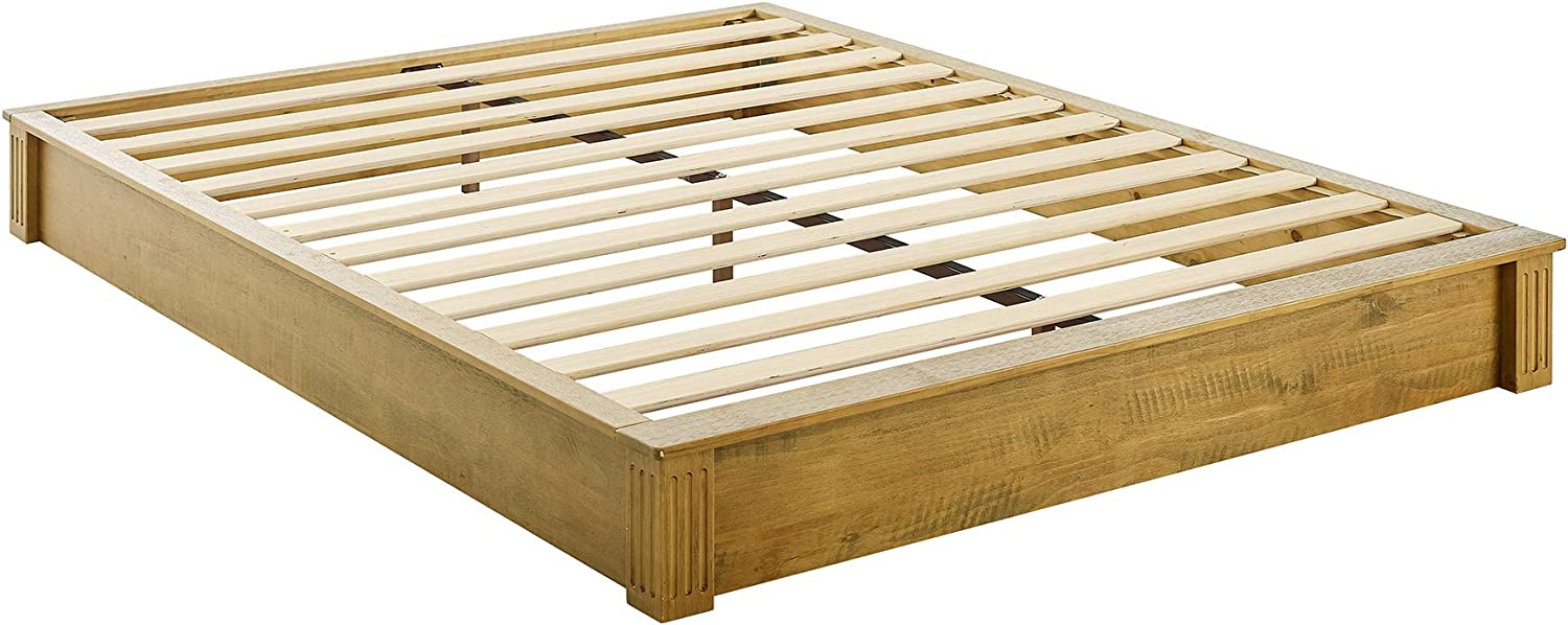 Amazon Com Musehomeinc California Rustic Solid Wood Platform Bed Low Profile Style With Wooden Slats Support No Boxspring Needed Teak Finish Queen Kitchen Dining