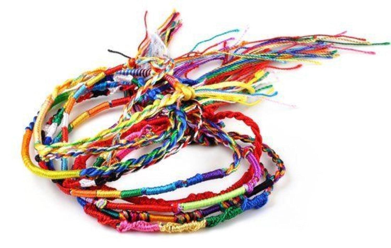 10 x braccialetti dell'amicizia assortiti in tessuto arcobaleno – Braccialetto a fili colorati intrecciati in macrame colorato- Dojore