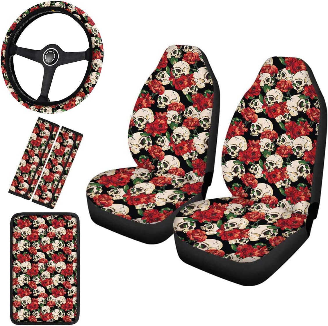 Horeset Aqua Flowers Car Seat Covers Full Set Includes Steering Wheel Cover /& Center Console Armrest Cover /& Automobile Seatbelt Covers Compatible with Most Cars