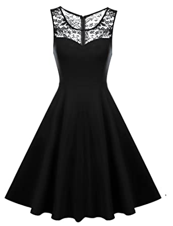 HOTOUCH Women's Elegant Illusion Floral Lace Sleeveless Bridesmaid Prom  Dress (Black ...