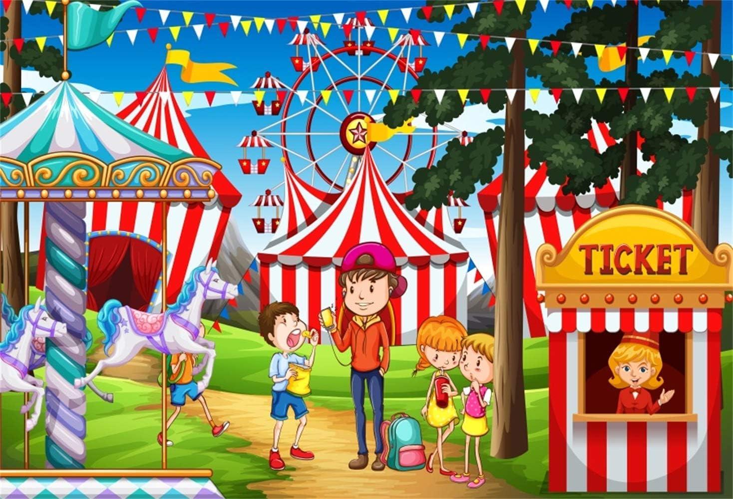 GoEoo Cartoon Circus Ticket Office Backdrop 10x7ft Vinyl Lingering Children Vistors Whirligig Ferris Wheels Photography Background Kids Baby Portrait Shoot Birthday Party Banner Cake Smash