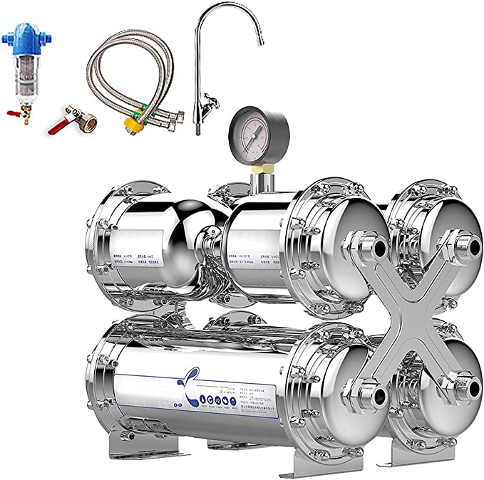 Sistema Filtro Agua Potable Ósmosis Inversa 6 Etapas Debajo Fregadero, Purificador Agua Grifo Ablandado Elimina Cloro, Plomo, Cromo, Metales Pesados, Olores ...
