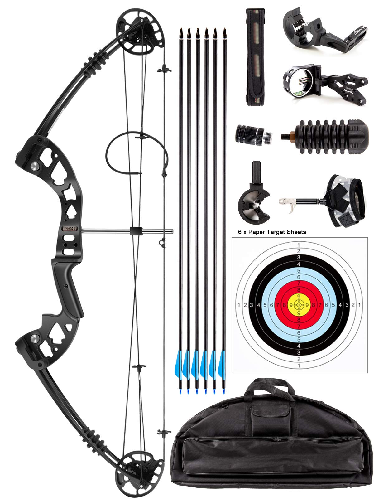 ROCHAN Aluminum Alloy Compound Bow with Dyneema Bow String Right Hand Composite Bow with Adjustable Draw Length and Weight Compound Hunting Bow Kit, IBO 310FPS by ROCHAN