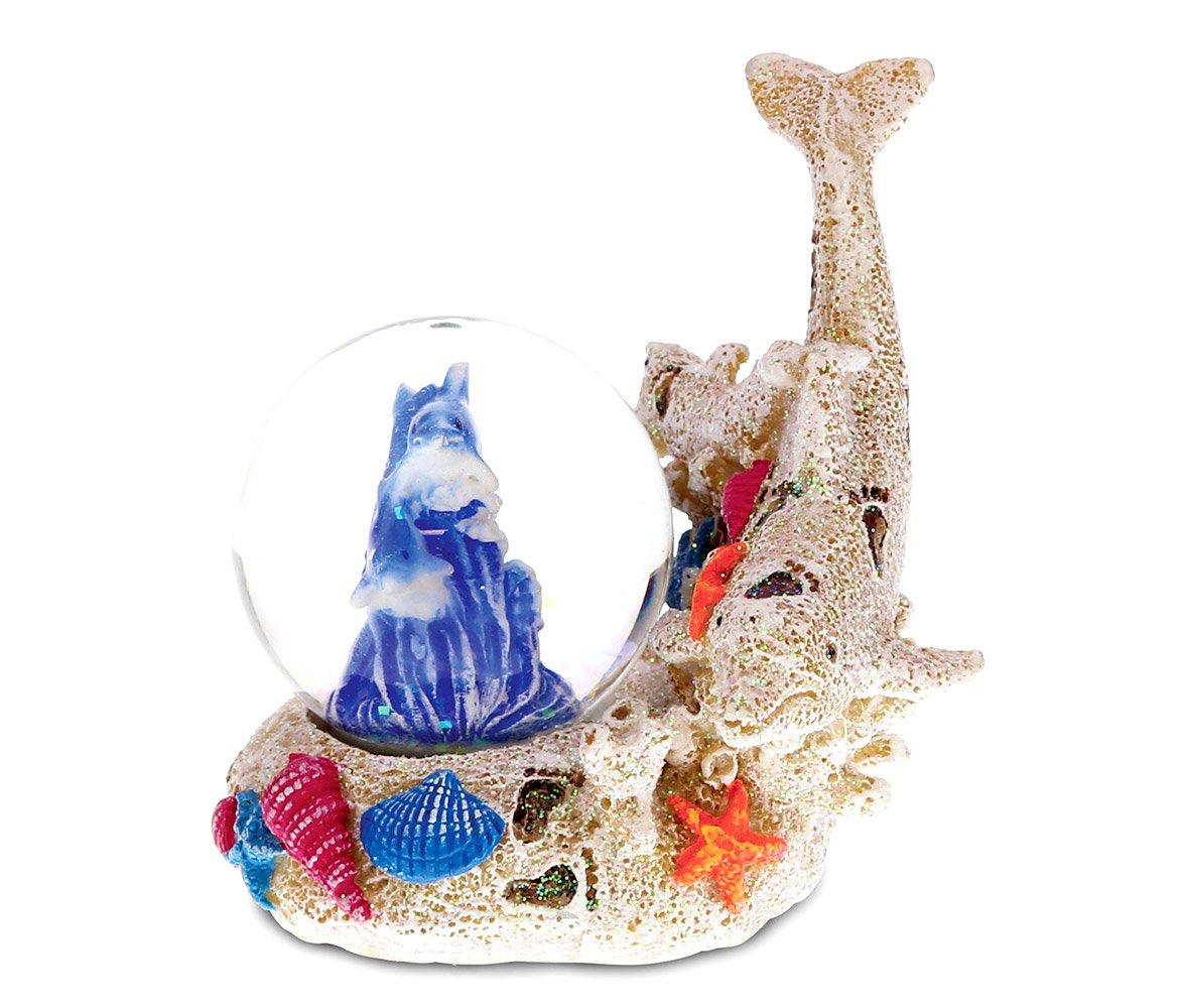Nautical Coastal Beach Blue Dolphin Glass Decor Art Statue Figurine
