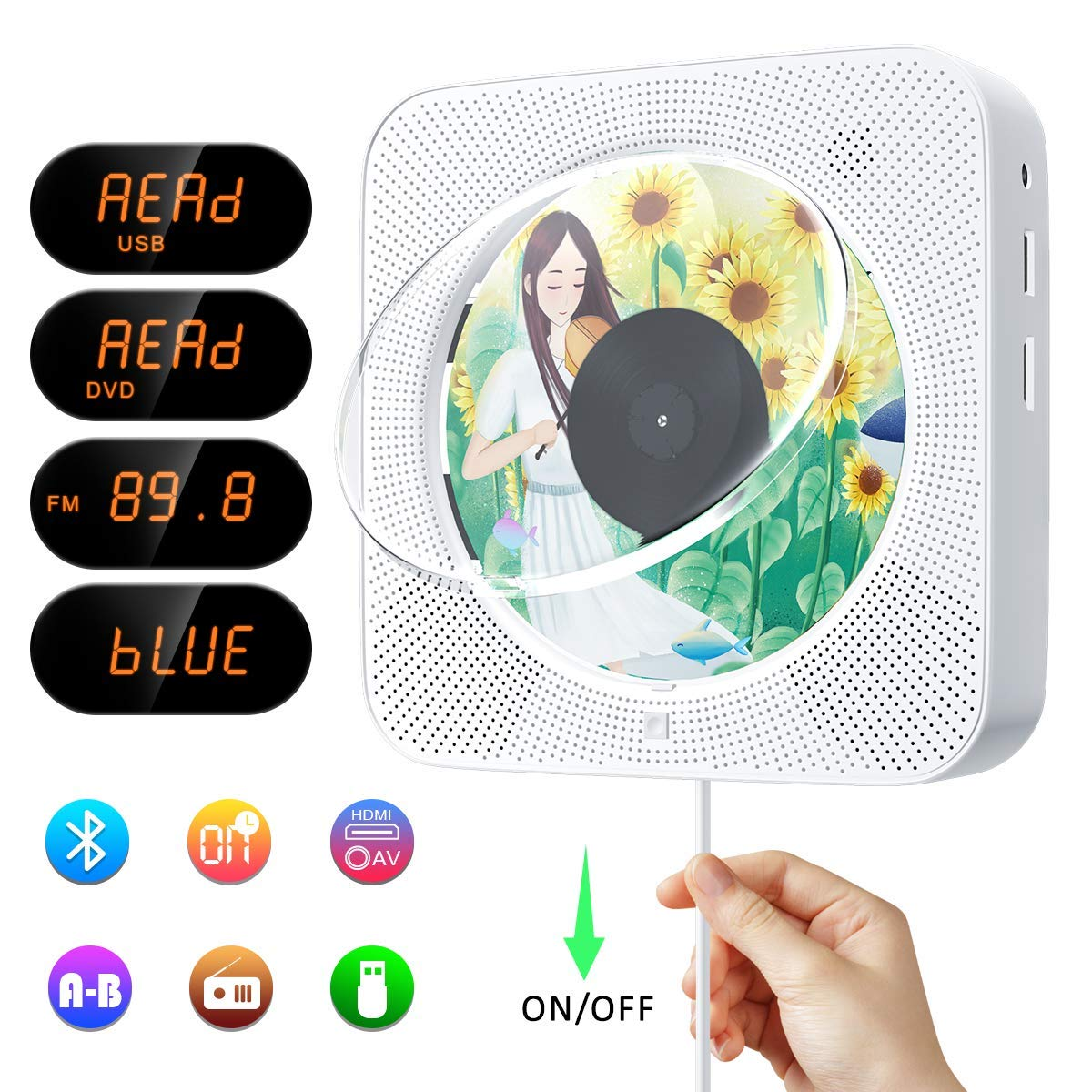 YOOHOO Portable CD//DVD Player with Bluetooth,Wall Mountable Personal Compact Disc Player with Built-in HiFi Speakers//LED Display//FM Radio//Remote Control//AUX Input Output Blue