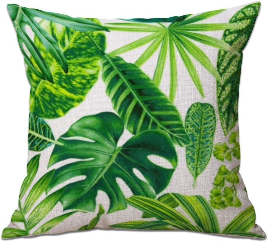 Coussin de Remplissage Non Inclus LAAT Coton Lin doreiller Housse de Coussin Plantes Tropicales D/écoration de Maison