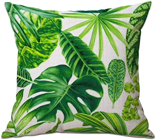 Cosanter Cojín Tropical Verde Hojas de Planta Manta Funda de