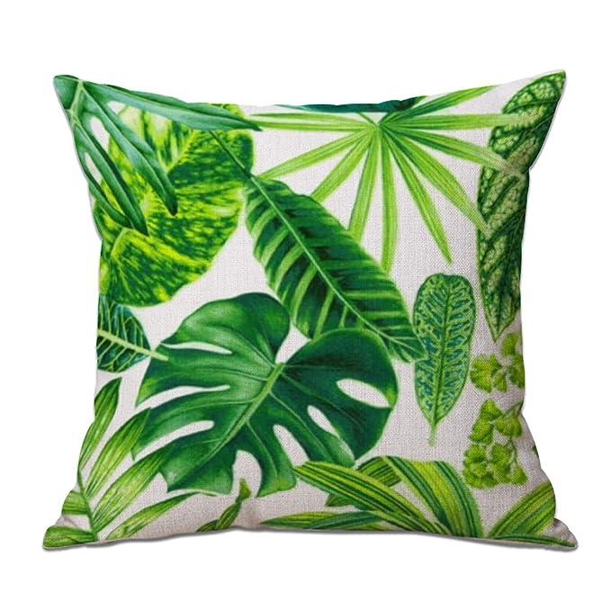 Cosanter Cojín Tropical Verde Hojas de Planta Manta Funda de Almohada Cojines Sofas Fundas Cojines para sofá Coche Decoración para el Hogar 17,7