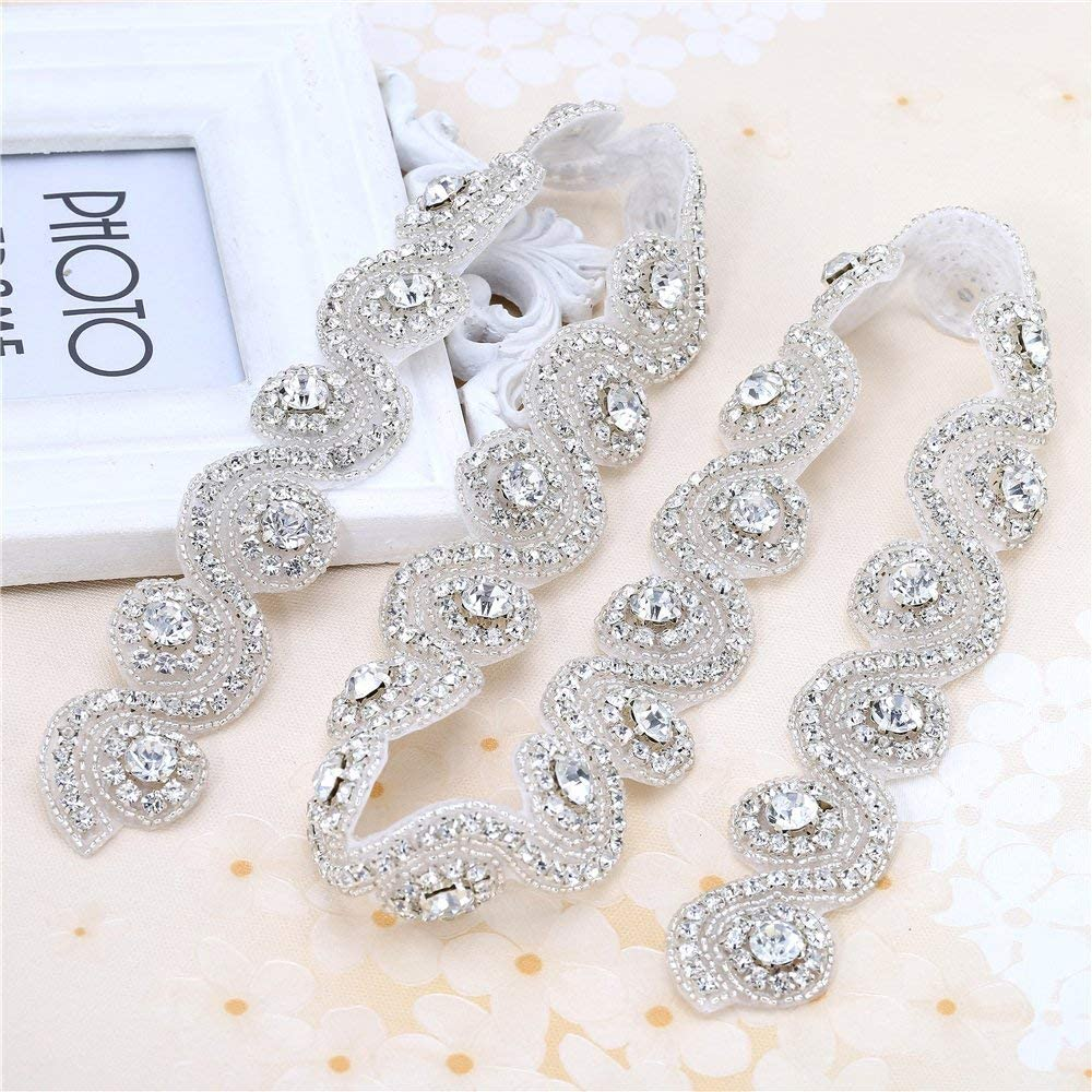 Sliver Wedding Dress Belt Applique with Clear Rhinestones Appliques for Headbands by Iron or Sewing-1Piece 1.236