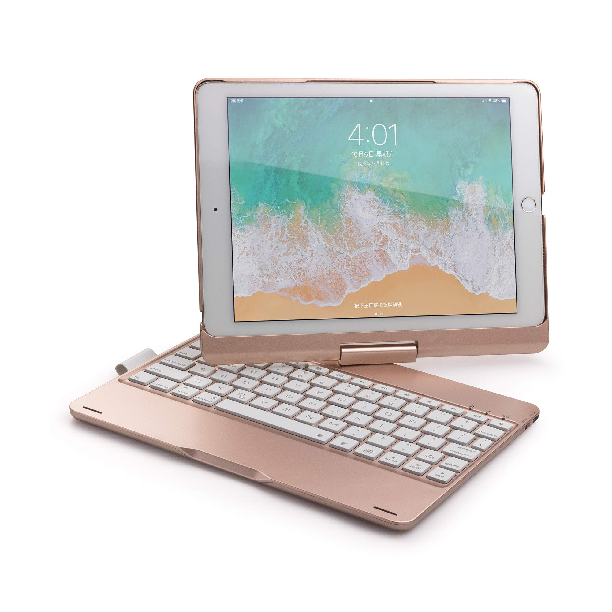 Wireless Keyboard Case for iPad Air 2019 3rd Gen/iPad Pro 10.5'' 2017, Businda Aluminum Shell Smart Folio Case with 7 Colors Back-lit, Auto Sleep/Wake, (A1701/A1709), Rose Gold