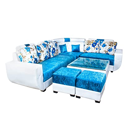 Amazing Pasricha Furniturer Designer 6 Seater Sofa Set With 2 Puffy And Center Table Blue Download Free Architecture Designs Scobabritishbridgeorg