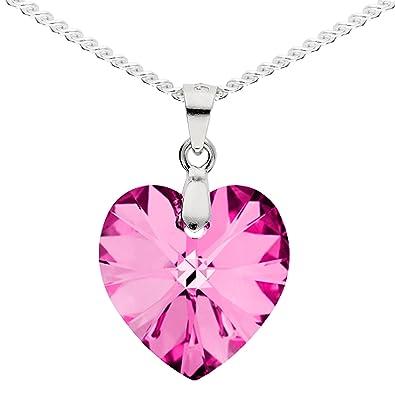 4382846db30e MYA art Kette Halskette 925 Sterling Silber mit Herz Anhänger Swarovski  Elements Kristall Stein Pink Rosa Damen Kinder Herzketten MYASIKET-58   Amazon.de  ...