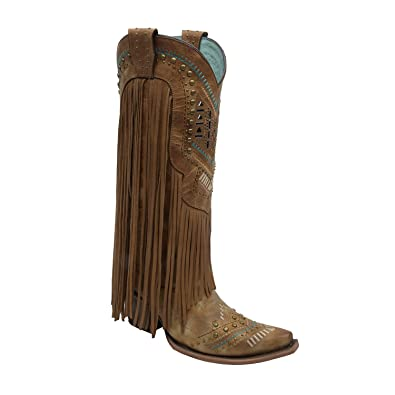 b4157cab183 Corral Women's Aztec Long Fringe Cover Tan Cowboy Boots