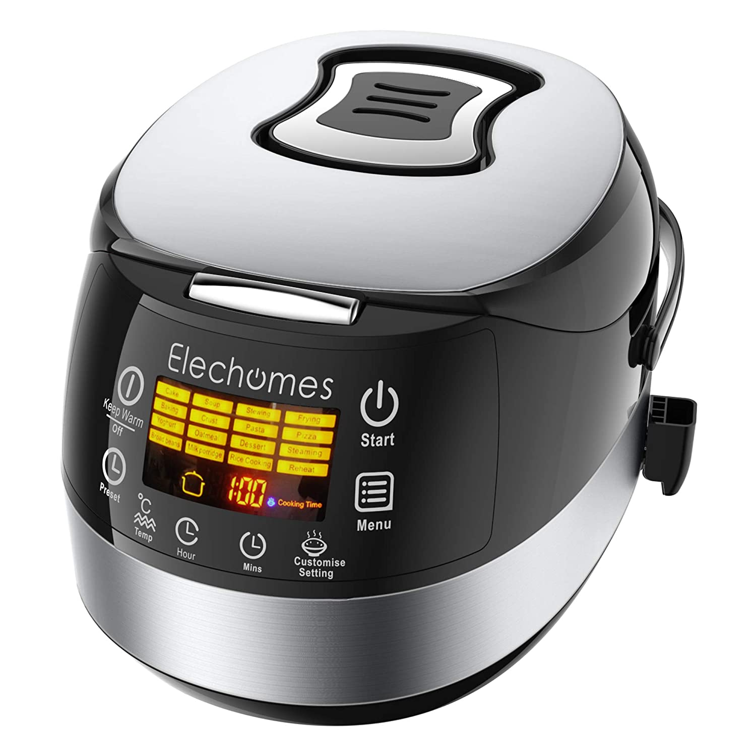 Elechomes LED Touch Control Rice Cooker, 16-in-1 Multi-function Cooker, 10-Cups Uncooked Warmer Cooker with Steam & Rinse Basket, CR502 (CR502-2)