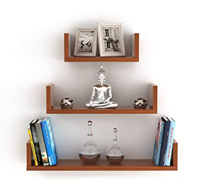 Bluewud Caesar Wall Decor Book Shelf/Wall Display Rack (3 Shelves)