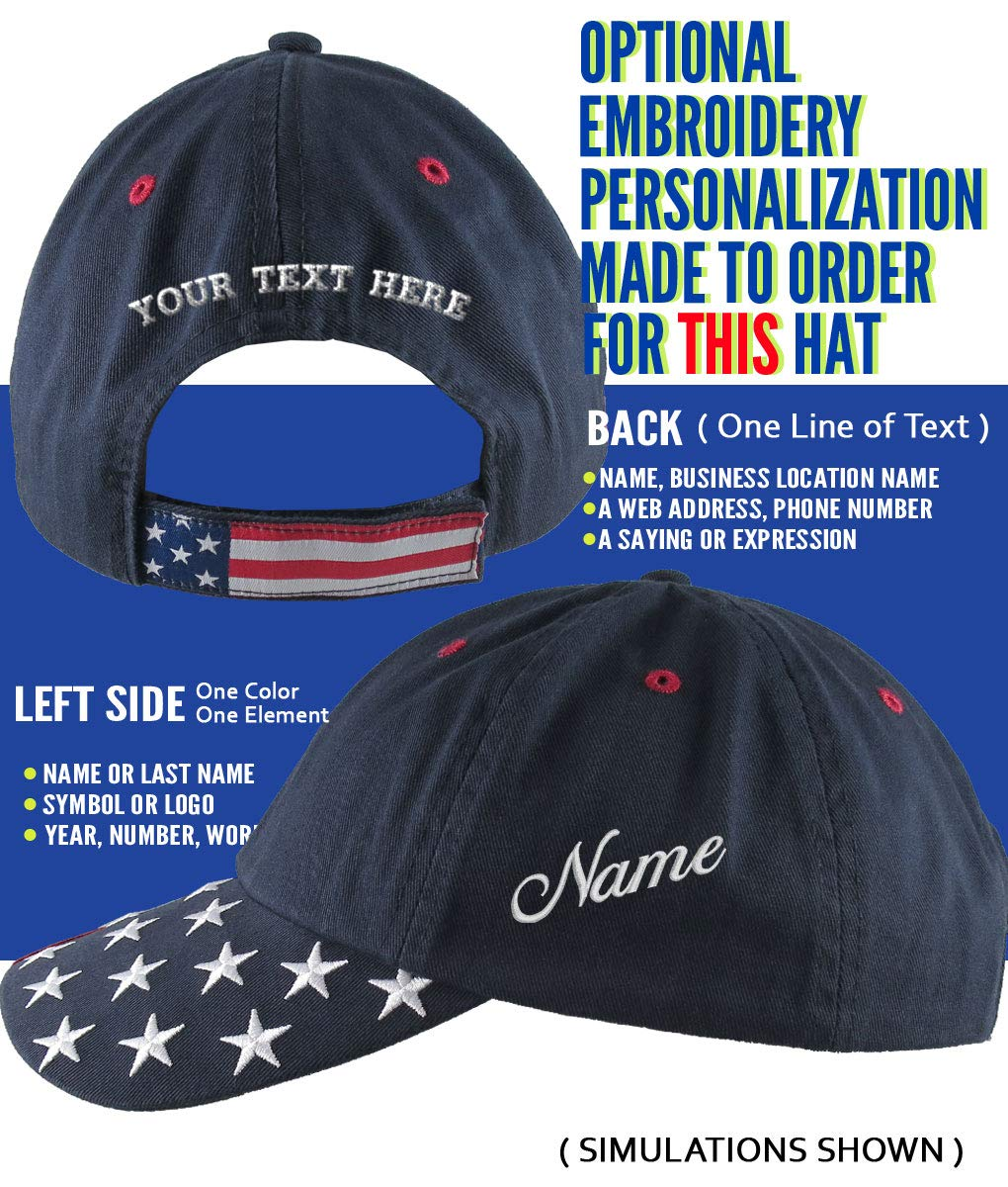 50221bc2 Amazon.com: NYSE Hat Dow 30000 Stock Broker Custom Embroidery Adjustable  Navy Blue Unstructured Stars and Stripes Baseball Cap + Personalization  Options: ...