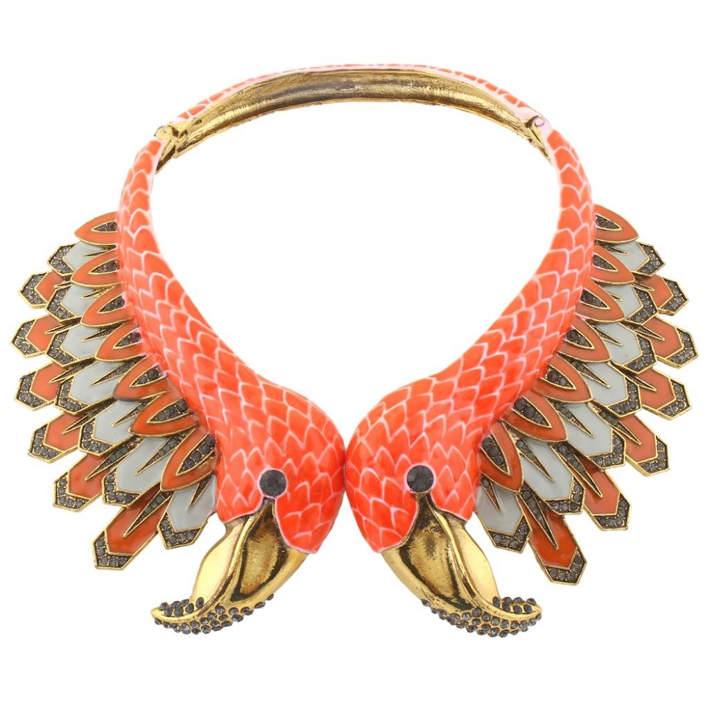 Ever Faith Vintage Style 2 Orange Flamingo Statement Choker Necklace Austrian Crystal Gold-Tone N04098-1 N04098-3