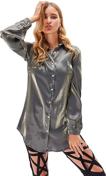 XIANGLIOOD - Blusa de satén con cuello en V, color plateado ...