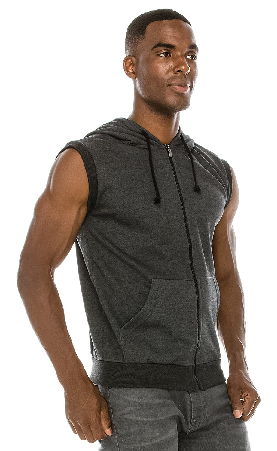 6cfcceec51fc8 Angel Cola Men s Sleeveless Hoodie Zip Up Midweight Cotton Vest at Amazon  Men s Clothing store