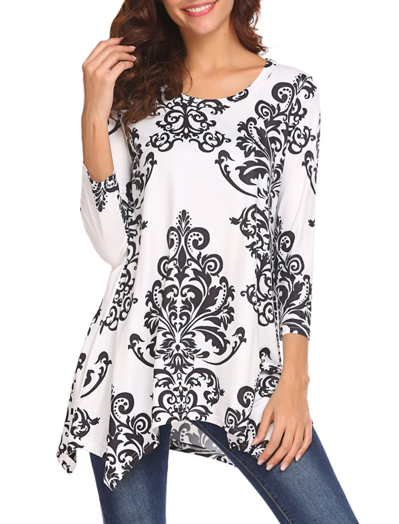 Womens Tunics Top,Halife Ladies 3 4 Sleeve Scoop Neck Pleated Casual Flare Print Tunic Shirts White S