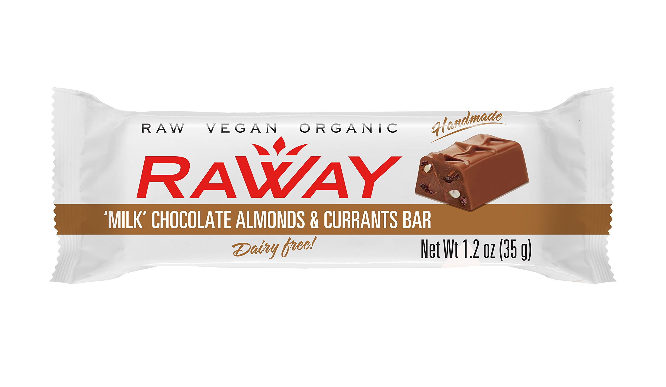 Raway Raw Vegan Chocolate Bars - Milk Chocolate Almonds & Currants - Box 12 Bars