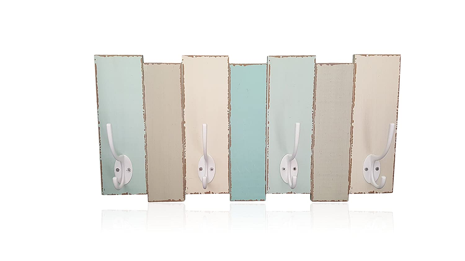Coastal Wood Wall Coat Rack-4 Double Metal Hooks-Distressed Beach Decor Finish by Tumbler Home