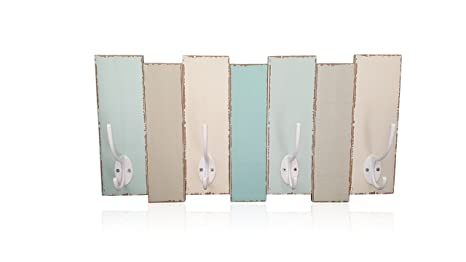 Coastal Wood Wall Coat Rack 4 Double Metal Hooks Distressed Beach Decor  Finish By