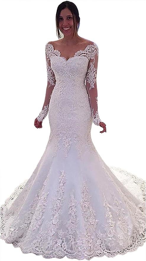 Yilian 2018 Long Sleeved Mermaid Bridal Wedding Dress White Ivory V Neck Lace Fishtail Wedding Dress Sexy Bride Wedding Dress Ivory 6 At Amazon Women S Clothing Store
