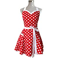 Lovely Sweetheart Red Retro Kitchen Aprons Woman Girl Cotton Polka Dot Cooking Salon Pinafore Vintage Apron Dress…
