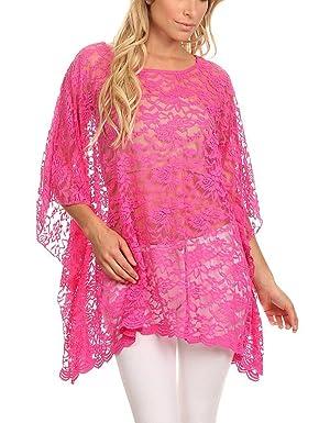 Modern Kiwi Lace Love Floral Caftan Poncho Tunic Fuchsia One Size