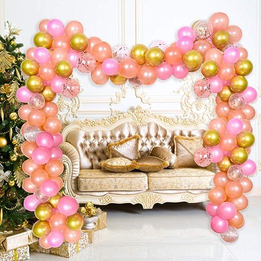 Supchamp Kit de Guirnaldas de Globos, Kit para Arco, 100 Pcs Globos Oro Rosa, Rosadas, Dorados Metalizado, Rosado Confeti, con Accesorios para ...