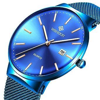 Luxus Mode Armbanduhr Blau Ultradünne Quarzuhr Design Männer Lässige Mit Wishdoit Minimalistisches Damen Herren Uhren Slim Classic y7gbf6