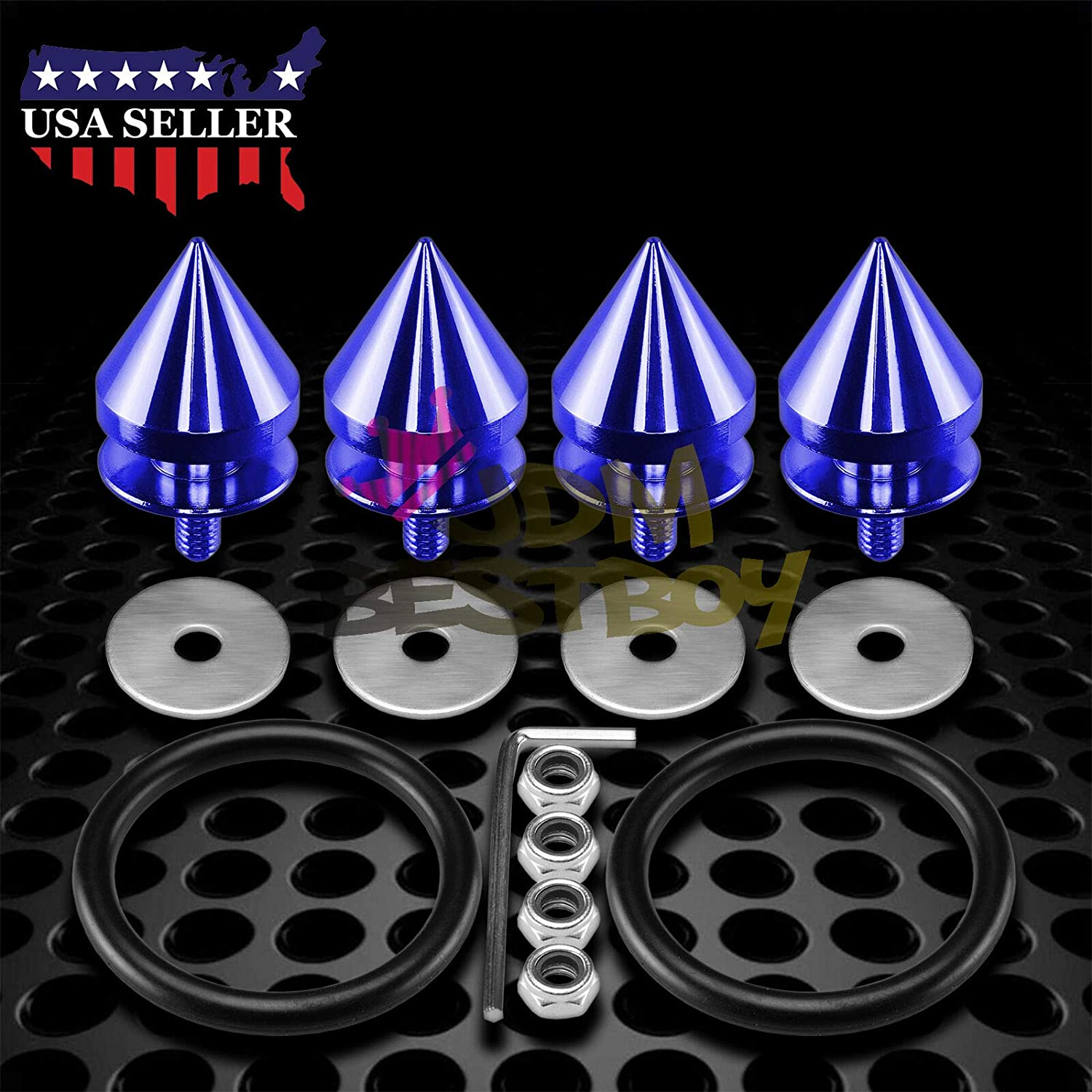 JDMBESTBOY Red Spiked Quick Release Fasteners for Car Bumpers Trunk Fender Hatch Lids Kit