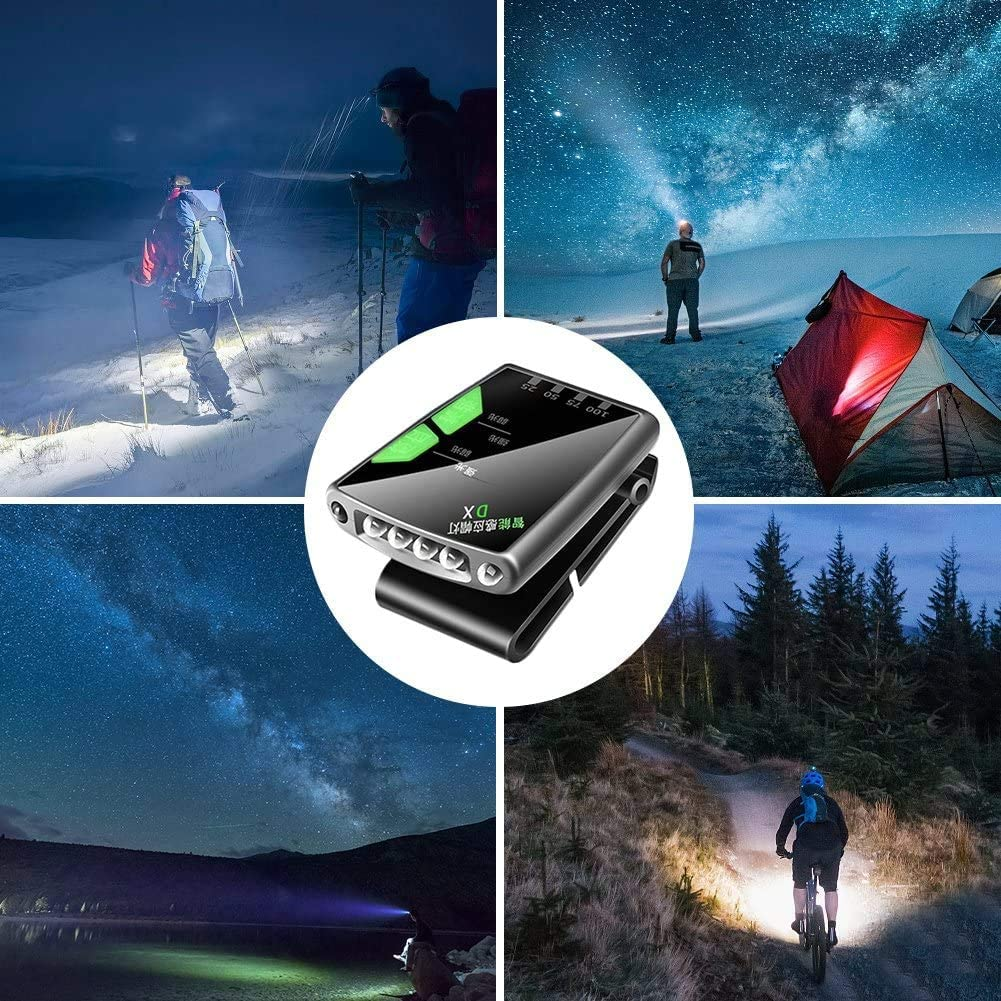 for Fishing Running Camping Hiking and Mountain GREATWNCITY 2Pcs Rechargeable Sensory Clip Cap Lamp 6 Led Head Torch Rotatable Ball Cap Visor Light Hands Free