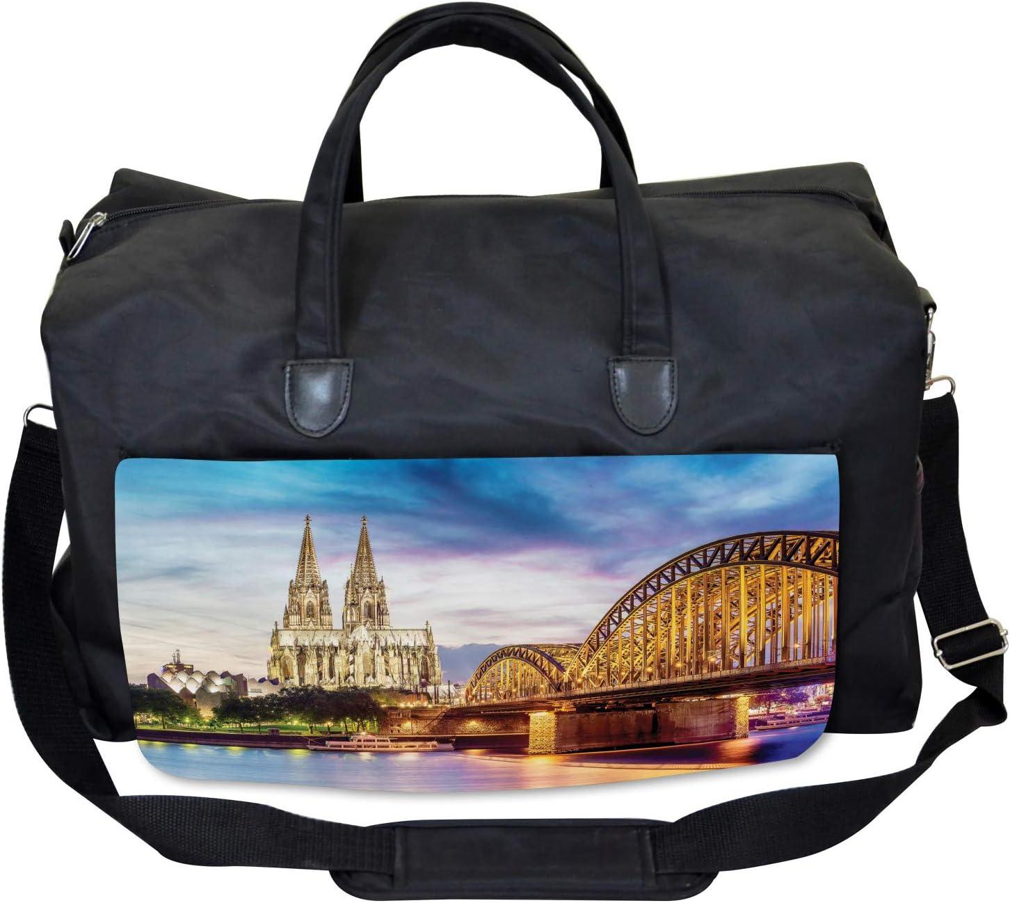 Old Bridge and Rhine Large Weekender Carry-on Ambesonne European Gym Bag