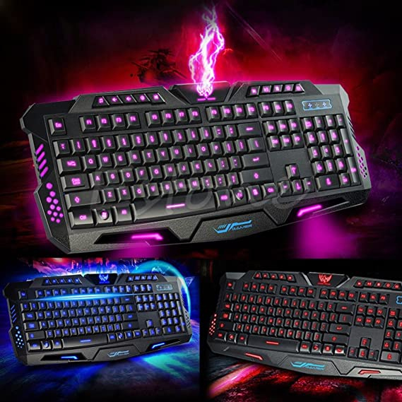 Generic Wired Gaming Keyboard Backlight 3 Colors Illuminated LED USB Wired Multimedia PC Gaming Keyboards
