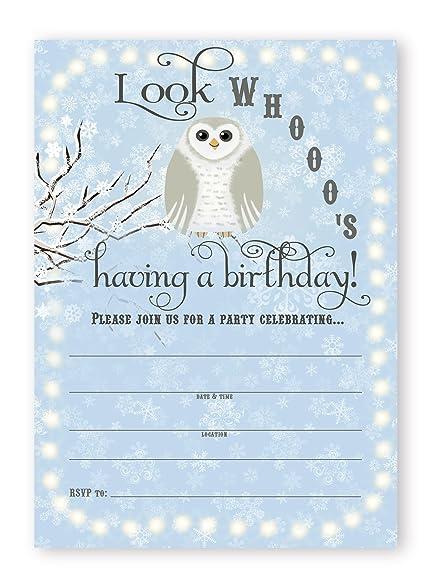 Amazon snowy owl birthday party invitations blue 10 snowy owl birthday party invitations blue 10 invitations 10 envelopes filmwisefo