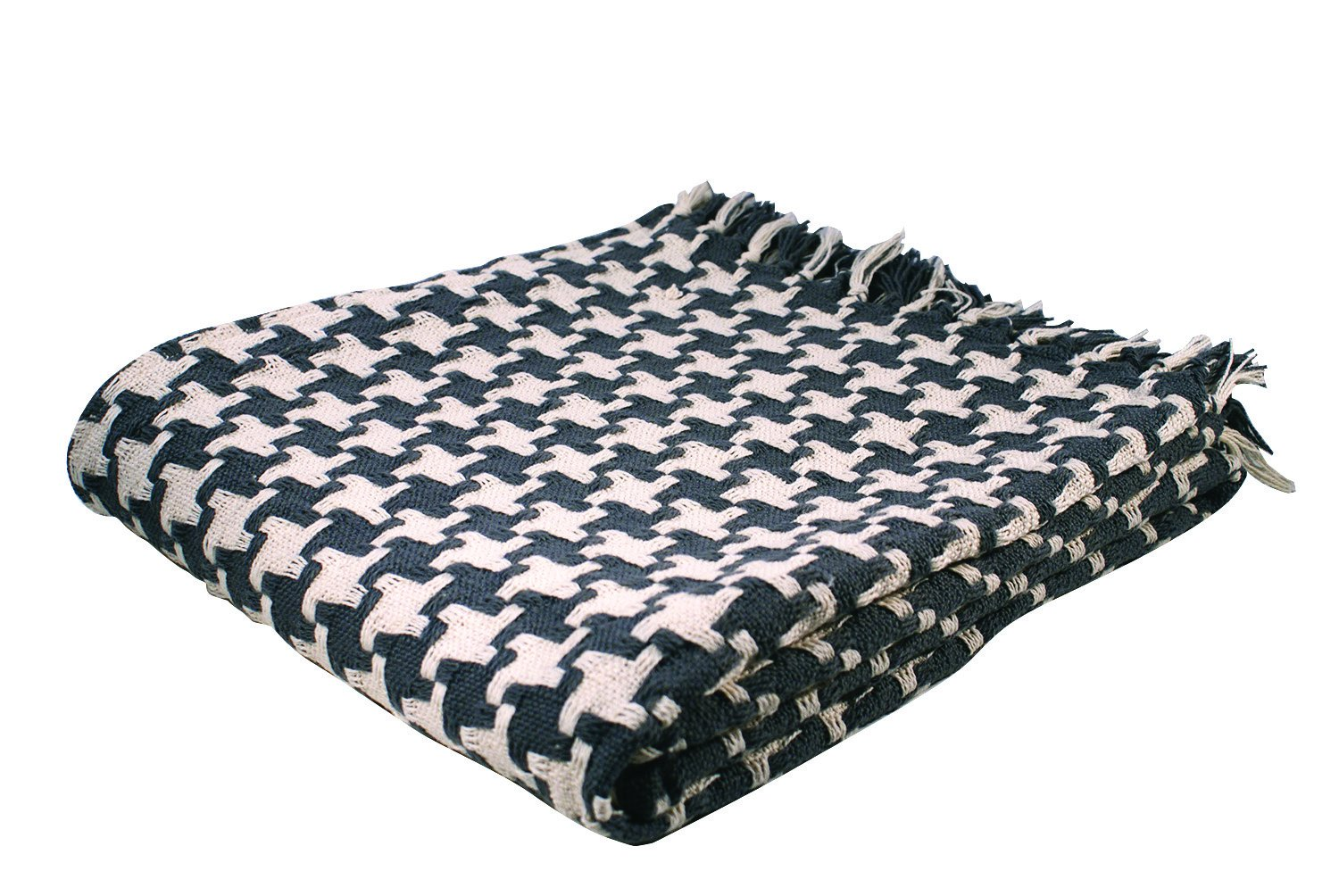 Gray and Natural Scout Limited Inc Split P Houndstooth Throw Blanket 2513-022