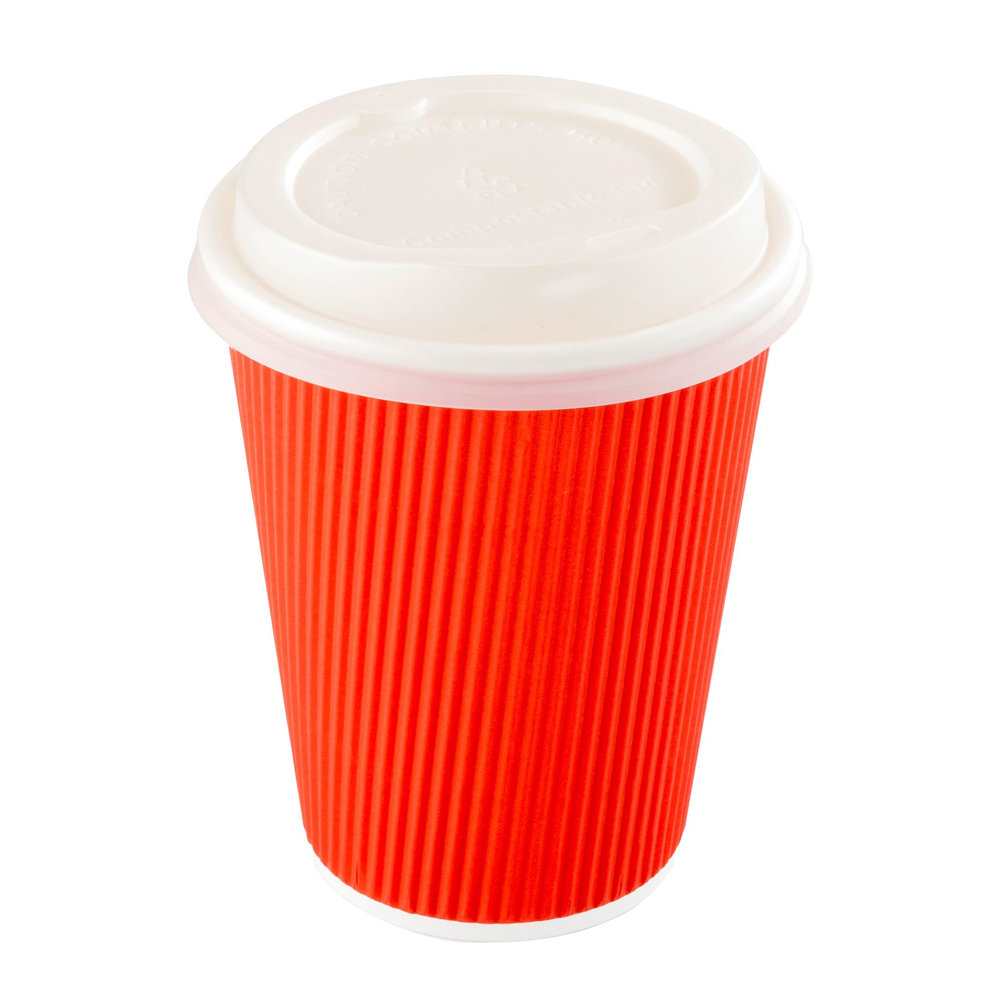 White Coffee Cup Lids, PLA Plastic Compostable Coffee Lids, Hot Beverage Cups - Fits 8, 12 & 16 oz Cups - 500ct Box - Restaurantware