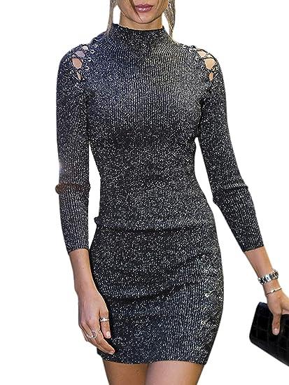 507d6206cf Fashiomo Women s Sexy Lace Up Turtleneck Mini Dress Hollow Out Bodycon Club  Dress Black