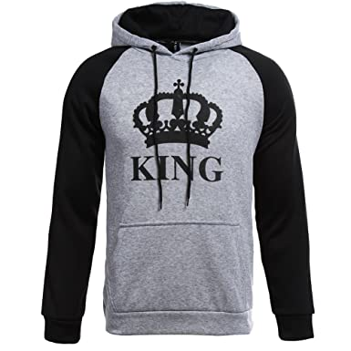 436cc7e9 Fenghuo Couple Matching Raglan King Queen Printed Hoodie Sweatshirt at  Amazon Women's Clothing store: