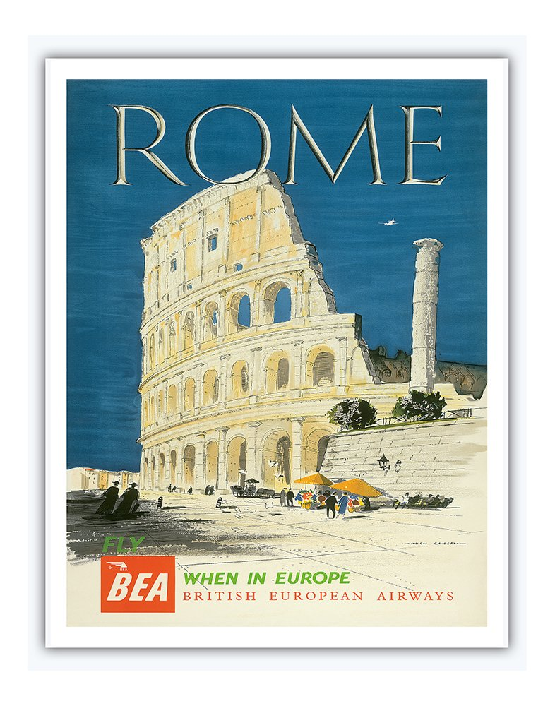 8in x 12in Vintage Tin Sign - Rome, Italy - The Colosseum, Flavian Amphitheatre - BEA (British European Airways) by Hugh Casson Pacifica Island Art Inc.