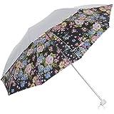 日傘 折りたたみ 晴雨兼用 UV <ひんやり傘>【LIEBEN-0577】 シルバー (バラブラック)