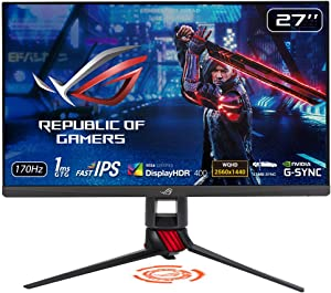"ASUS ROG Strix XG279Q 27"" HDR Gaming Monitor, 1440P WQHD (2560 x 1440), Fast IPS, 170Hz, G-SYNC Compatible, Extreme Low Motion Blur Sync (ELMB SYNC), 1ms DisplayHDR 400 Eye Care DisplayPort Dual HDMI"